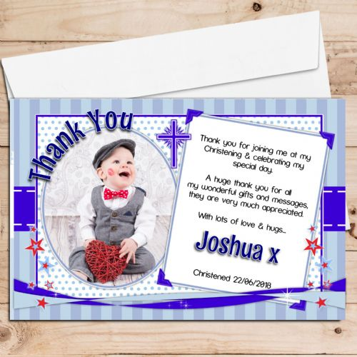 10 Personalised Christening / Baptism Thank you PHOTO Cards N234 Blue Stars & Stripes
